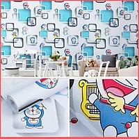 Giấy dán tường Doremon ô vuông xanh có keo sẵn khổ rộng 45cm, giấy decal dán tường Doraemon phòng ngủ cho bé