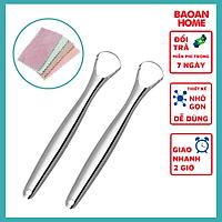 Bộ cạo lưỡi bằng inox 304 sáng bóng cao cấp hỗ trợ làm sạch bề mặt lưỡi tặng kèm khăn đa năng 2 mặt BaoAn hàng chính hãng