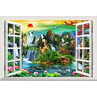 Bức tranh dán tường cửa sổ 3D in trên giấy ảnh với 2 lựa chọn bề mặt cán PVC gương hoặc cán bóng, mã số: 00400541L11
