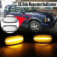Pair LED Side Repeater Indicator Light For Land Rover Freelander Discovery Defender (Clear)