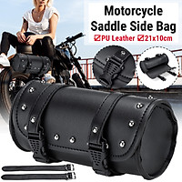 1Pc 21x10 cm Universal Motorcycle Saddlebag Waterproof Tool Bag Mounting Strap Round Storage Bag PU Leather for Davidson