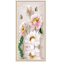 Decal hoa sen hồng trang trí tường LV-0221