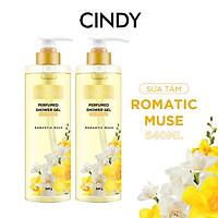 Combo 2 chai Sữa tắm nước hoa dưỡng ẩm sáng da Cindy Bloom Romantic Muse mùi hương quyến rũ lãng mạn 640g