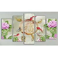 Bộ 5 tranh treo tường bằng vải canvas, chống ẩm mốc, không bám bụi, kèm khung tranh trang trí treo phòng khách đẹp, AT821