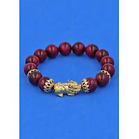 Vòng đeo tay Đá Mắt Hổ Đỏ Hồng 12 ly - cẩn Tỳ Hưu Phong Thủy Chiêu Tài Lộc inox vàng VMHOTHBKV12