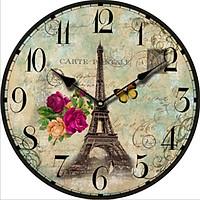 Đồng hồ treo tường Vintage Phong cách Châu Âu DH08 tháp Effel và hoa hồng