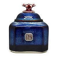 Hộp trà bát giác nhỏ   Đông Gia-màu men hỏa biến  tự nhiên Xanh sóng biển 8094 Small Octagona tea box