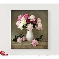 Set 1 tranh bình hoa mẫu đơn lãng mạn 30x30cm HO0197