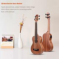 30 Inch Electric Bass Ukulele Ukelele Uke Sapele Plywood Body Padauk Fretboard Rubber Strings Built-in Tuner EQ with 3