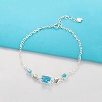 Lắc tay bạc nữ, vòng tay bạc nữ đẹp đính đá xanh độc đáo LTN0149
