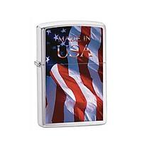 Bật Lửa Zippo Flag Made In Usa Brushed Chrome Chính Hãng Usa