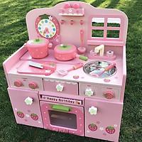 Bếp Nguyên khối MG hồng 4 dâu - đồ chơi gỗ