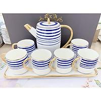 Bộ ấm chén kèm khay sứ pha trà cà phê trắng họa tiết kẻ xanh dương phong cách Châu Âu sang trọng - ANTH25