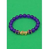 Vòng đeo tay Thạch Anh Tím 8 ly - cẩn Tỳ Hưu Phong Thủy inox vàng VTAITHHKV8 - hợp mệnh Hỏa, mệnh Thổ