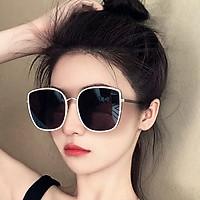 (Tặng khăn lau kính) 2021 mới kính râm nữ chống tia UV400, mặt vuông retro làn sóng Hàn Quốc - KM18