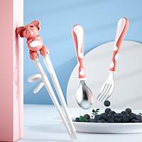 Combo Đũa Tập Ăn Dặm Xỏ Ngón + muỗng nĩa inox Cực Kỳ Tiện Lợi Cho Bé  hình con voi