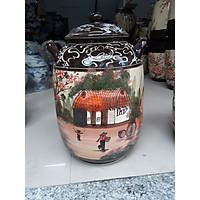 Hũ đựng gạo 25kg gốm Bát Tràng( hoa văn Ngẫu Nhiên)