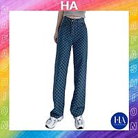 Quần Jean Nữ Ống Rộng Lưng Cao H&A Fashion Siêu Dài, Jean Họa Tiết Hot Trend 2021, Mẫu Mới Nhất TBQBBJN10