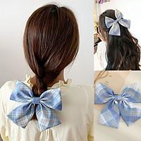 Kẹp tóc Hàn Quốc, kẹp nơ vải to bản họa tiết caro tiểu thư ngọt ngào KT34