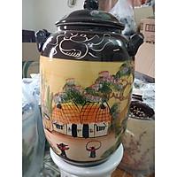 Hũ đựng rượu gạo vẽ cảnh Bát Tràng loại 30L