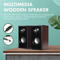 USB Wired Multimedia Wooden Computer Speaker Stereo Subwoofer for Desktop Laptop