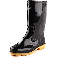 HUILI rain boots outdoor boots sets of shoes HXL807 mid calf black 39 yards