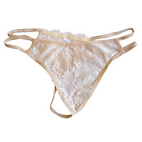 Women's Stretchy Floral Lace Open Front Thong T Back Underwear Panties
