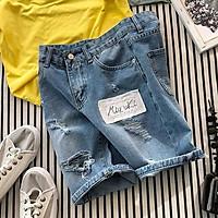 Quần short jeans đùi nam vá rách trẻ trung, thời trang xuân hè 2021