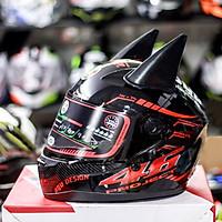 Nón Fullface AGU Tem 14 Đỏ Kèm Sừng Batman Sẵn keo siêu chất dành cho phượt thủ_ Mũ bảo hiểm có kính