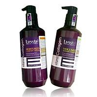Cặp dầu gội xả Lusstaly Vitamin Collagen Moisturizing Comfort - Volumizing Repair phục hồi siêu mượt tóc cao cấp 500ml