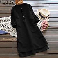 ZANZEA Long Top Solid Blouse Shirt Dress Women Long Sleeve Pockets Buttons Dress
