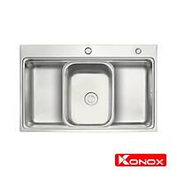 Chậu rửa bát Konox, European Series, Model KN7548SO, Inox 304AISI tiêu chuẩn châu Âu, Hạ bậc tích hợp, 750x480x230(mm), Hàng chính hãng