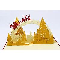 Thiệp 3D Giáng Sinh - Tuần Lộc Bay Qua Rừng Cây Chi Phong - NOT12