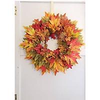 Vòng lá, quả trang trí mùa thu, treo tường, treo cửa nhà.