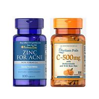 Combo thực phẩm bảo vệ sức khỏe ngăn ngừa mụn, giảm thâm ZinC for Acne (Kẽm ngăn ngừa mụn) và Vitamin C-500mg