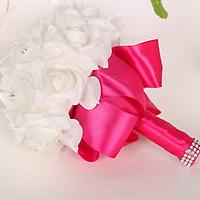 Bó hoa cưới Hàn Quốc tay cầm màu Hồng Đỏ phối Bông Trắng