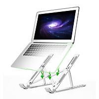 Giá Đỡ Laptop Nhôm Gấp Gọn, Laptop Stand Dùng Cho Máy Từ 11~17 inch, Có Thể Điều Chỉnh Nhiều Mức Độ Cao, Chất Liệu Hợp Kim Nhôm Cao Cấp