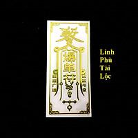 Linh Phù Tài Lộc, Dùng linh phù để dán điện thoại, laptop, xe máy, xe hơi, bàn thờ ông địa hay vị trí làm việc, gối đầu giường, kích thước 4.5x3cm, màu vàng - TMT Collection - SP005353