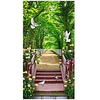 Tranh dán tường cảnh đẹp thiên nhiên lỗi vào rừng cây xanh LV-0099