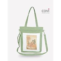 Túi tote đeo chéo nữ vải canvas phom đứng phối hình in cô gái thời trang COVI nhiều màu sắc T10