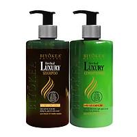 Combo Dầu gội và dầu xả bồ kết thảo dược, dưỡng tóc, kích thích mọc tóc Herbal Luxury Biyokea 320ml