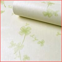 Giấy dán tường cỏ ba lá màu xanh và màu tím khổ 0.45m keo sẵn, Decal giấy dán tường cỏ 3 lá dễ thương
