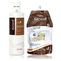 Bộ phục hồi tóc hư tổn tại nhà Karseell Maca Collagen Keratin cao cấp của Ý 500ml
