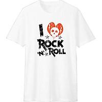 Áo Thun T-shirt Unisex Dotilo I Love Rock & Roll HM014 - Trắng