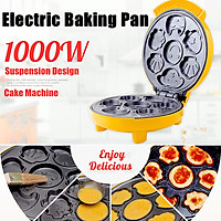 AUGIENB 1000W 220V Mini Waffle Maker Bread Machine Cake Maker Stainless Steel Convenient Automatic Electric Baking Pan Machine Breakfast Egg Roll Maker Household Pancake Pan
