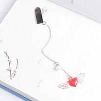 Bookmark kim loại mặt dây chuyền đính ngọc trai sáng tạo - Trái tim cánh thiên thần