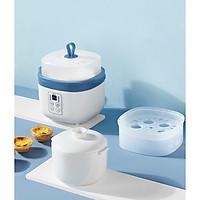 Nồi điện nấu cháo chậm đa năng bằng sứ ceramic tự động, dành cho bé ăn dặm (hấp, nấu, chưng, hầm, hâm nóng) 0,8L (xanh)