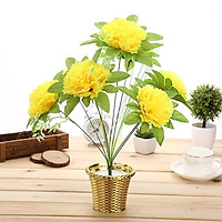 Hoa giả Chùm 7 Bông Hoa Cẩm Chướng Lớn Màu Vàng