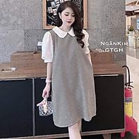 Váy bầu dài taychất cotton siêu mền, siêu mịnkhông xù, không bai mặc đi làm đi chơi đều đượcFree size 40~<70kg