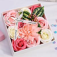 Hộp hoa hồng sáp thơm 15cm - màu hồng kem